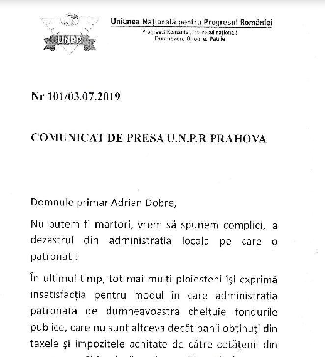 COMUNICAT DE PRESA U.N.P.R PRAHOVA