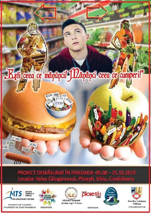 """Asociaţia """"Tinerii Voluntari – Valea Călugărească"""" lansează proiectul """"Eşti ceea ce mănânci! Mănânci ceea ce cumperi!"""""""
