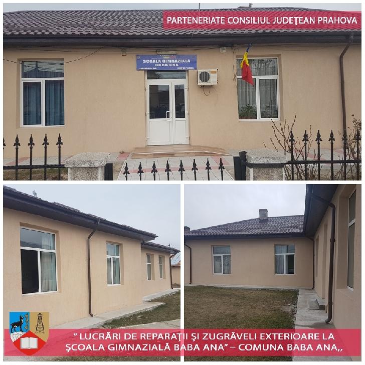 Lucrări de reparaţii şi zugrăveli exterioare la Şcoala Gimnazială Baba Ana