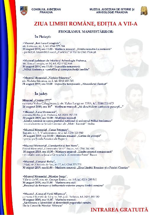 Ziua Limbii Romane  sarbatorita la muzeele din Prahova. Programul evenimentelor
