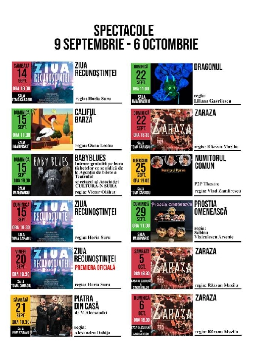 Program spectacole Teatrul TOMA CARAGIU in perioada   9 septembrie - 6 octombrie 2019