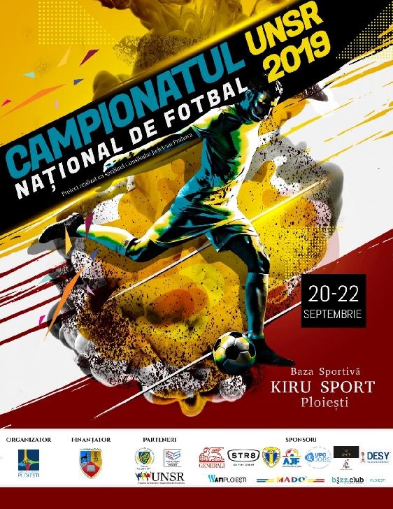 Campionatul Naţional de Fotbal UNSR 2019 se va desfasura  în perioada 20 – 22 Septembrie 2019