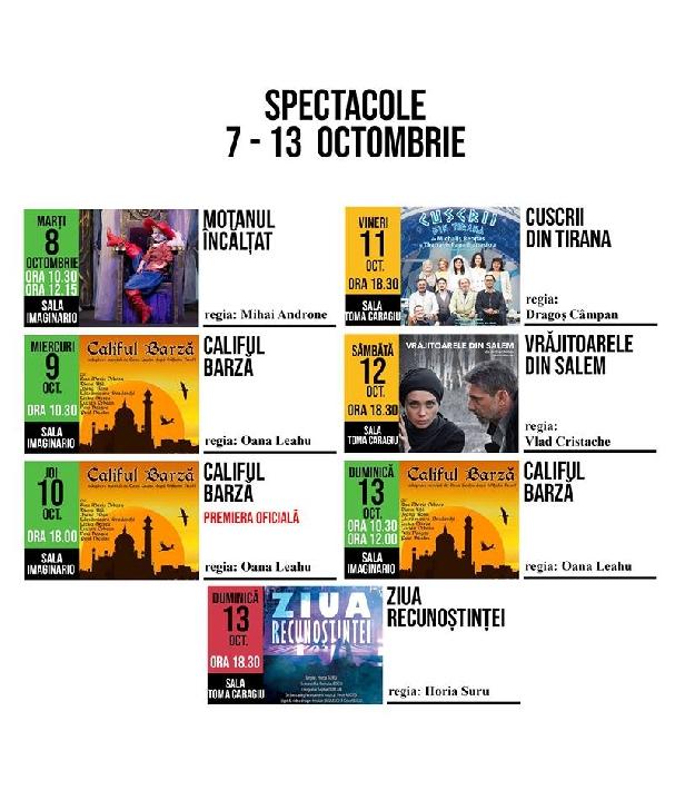 """Programul spectacolelor de la Teatrul """" Toma Caragiu """" Ploiesti in perioada 7-13 octombrie 2019"""
