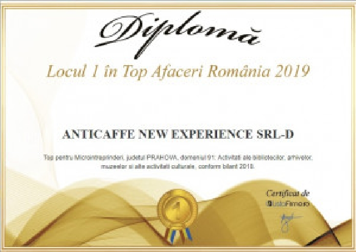 ANTICAFFE NEW EXPERIENCE  PLOIESTI.LOCUL I IN TOP AFACERI ROMANIA 2019