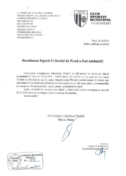 Hipodromul Ploieşti: reuniunea de sâmbătăa fost amânată pentru 2 noiembrie