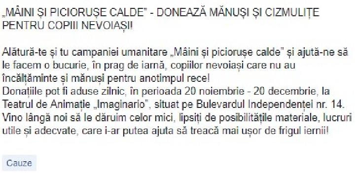 """""""MÂINI ŞI PICIORUŞE CALDE"""" Campanie umanitara a Teatrului """"Toma Caragiu """" Ploiesti"""