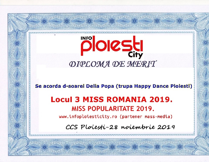 Delia Popa,Miss Popularitate şi locul 3 la MISS ROMÂNIA 2019