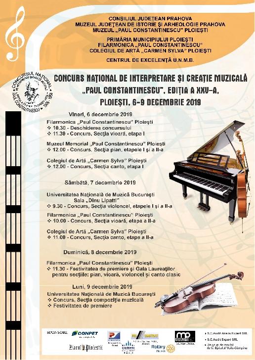 """Muzeul Judeţean de Istorie şi Arheologie Prahova  organizează  Concursul Naţional de Interpretare şi Creaţie Muzicală """"Paul Constantinescu"""""""