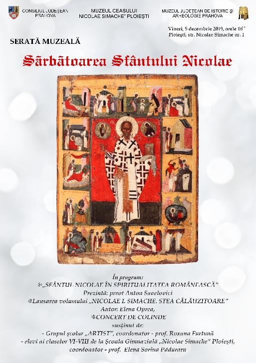 """Serata muzeală """"Sărbătoarea Sfântului Nicolae"""" la  Muzeul Ceasului """"Nicolae Simache"""""""
