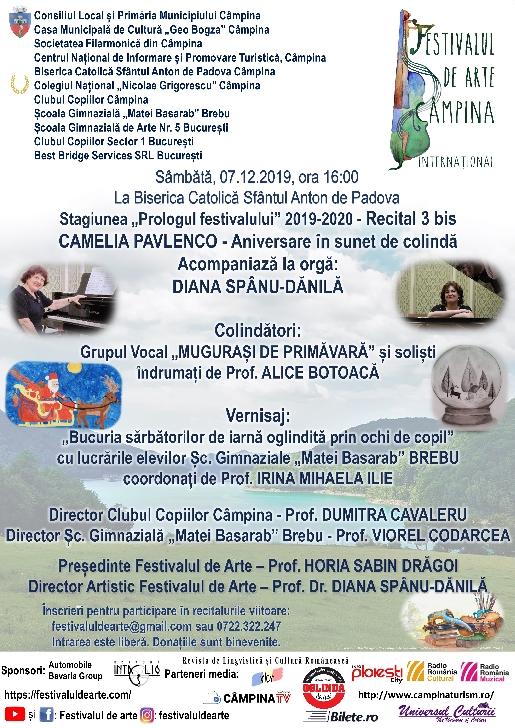 """Stagiunea """"Prologul festivalului"""" 2019-2020 - Recital 3 bis CAMELIA PAVLENCO - Aniversare în sunet de colindă"""