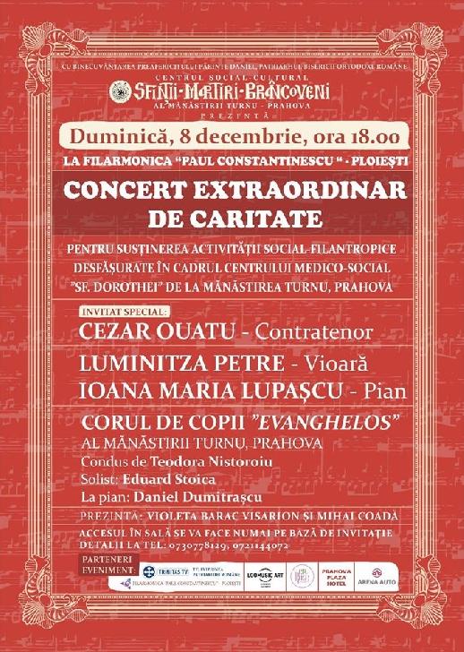 """Concert extraordinar de caritate la Filarmonica """"Paul Constantinescu """" Ploiesti"""