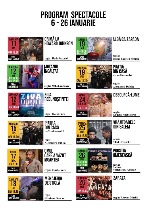 """Teatrul """"Toma Caragiu """" Ploiesti .Program spectacole pentru perioada 6 - 26 ianuarie 2020"""