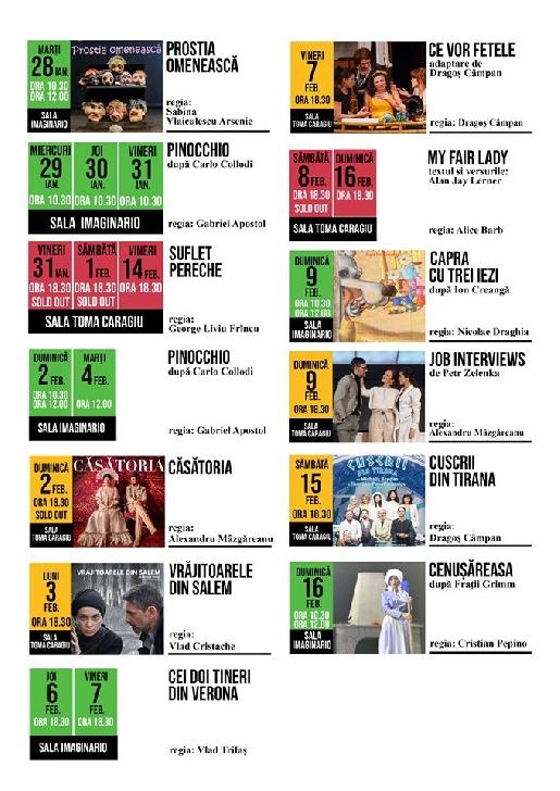"""Teatrul """"Toma Caragiu """" Ploiesti. Programul spectacolelor in perioada 27 ianuarie - 16 februarie 2020"""