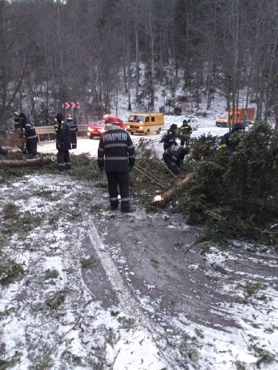 Drumul către cota 1400 a fost deblocat de pompierii militari şi pădurari