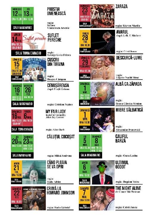 """Teatrul """"Toma Caragiu """" Ploiesti .Programul spectacolelor in perioada 10 februarie - 8 martie 2020"""