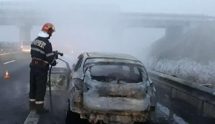 Un autoturism a luat foc în Ploieşti