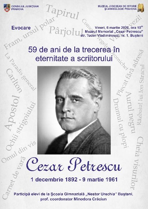 Evocare Cezar Petrescu la Muzeul Memorial din Busteni