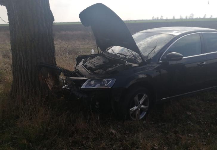 Accident rutier la Albesti.Un sofer a  intrat in coliziune cu un copac