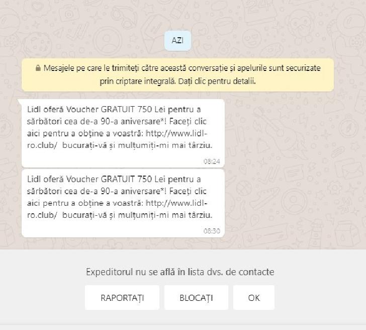 Atenţie. Ţeapă cu vouchere gratuite.Un mesaj cu o falsă promoţie de la Lidl se răspândeşte rapid pe Whatsapp