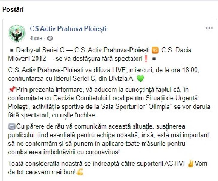 Derby-ul CS Activ Prahova Ploieşti-CS Dacia 2012 Mioveni se joaca fara spectatori