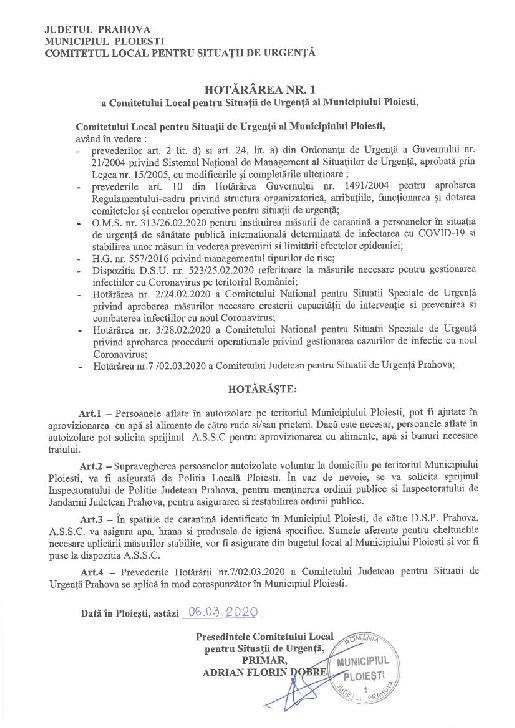 Măsuri de urgenţă luate la nivelul municipiului Ploieşti în vederea prevenirii răspândirii Coronavirus