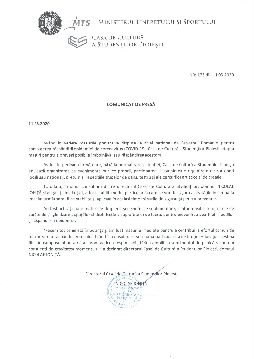 Casa de Cultură a Studenţilor Ploieşti anulează organizarea de evenimente publice proprii