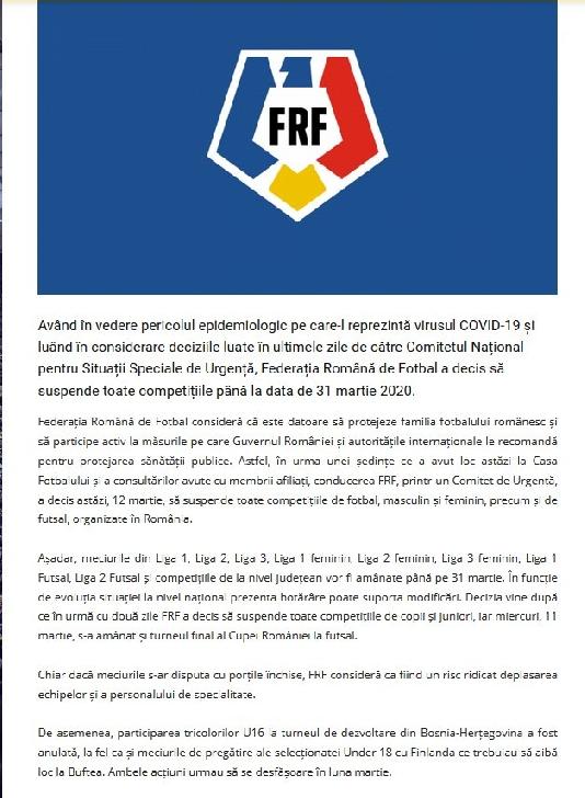 FRF suspenda  competiţiilor fotbalistice pe teritoriul României