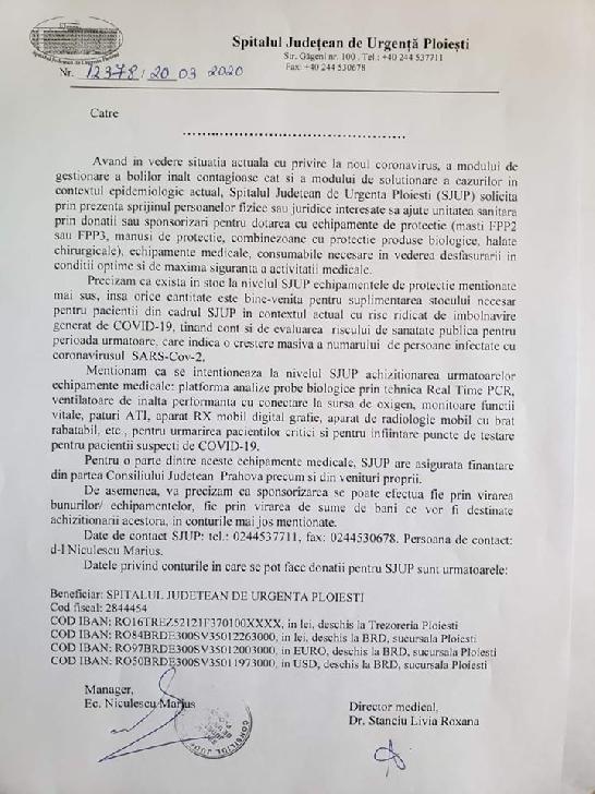 """""""Împreună pentru Spitalul Judeţean de Urgenţă Ploieşti împotriva COVID-19!"""" Campanie Observatorul Prahovean"""