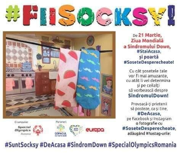 """Scoala """" H.M Berthelot""""   Ploieşti si Special Olympics Romania  te provoacă să porţi Sosete Desperecheate"""