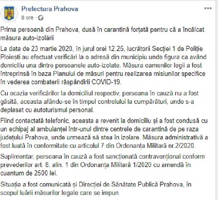 Prima persoană din Prahova, dusă în carantină forţată pentru că a încălcat măsura auto-izolării
