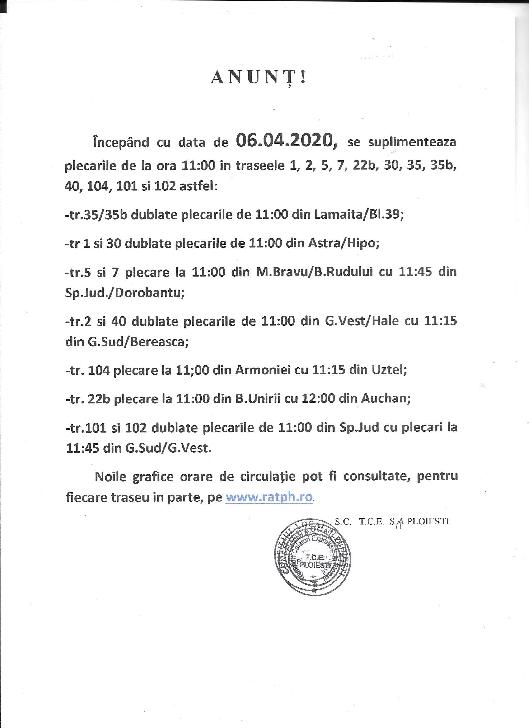 TCE  Ploiesti suplimenteaza plecarile de la ora 11:00 in traseele 1, 2, 5, 7, 22b, 30, 35, 35b, 40, 101,102