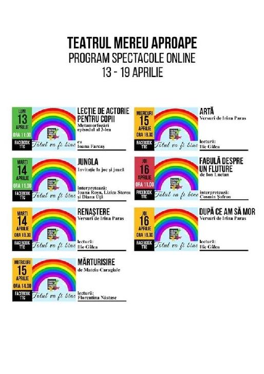 """Programul Teatrului """"Toma Caragiu """" Ploiesti in perioada 13-19 aprilie 2020"""
