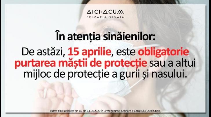 În Sinaia, purtarea măştii de protecţie sau a altui mijloc de protecţie a gurii şi nasului  este obligatorie