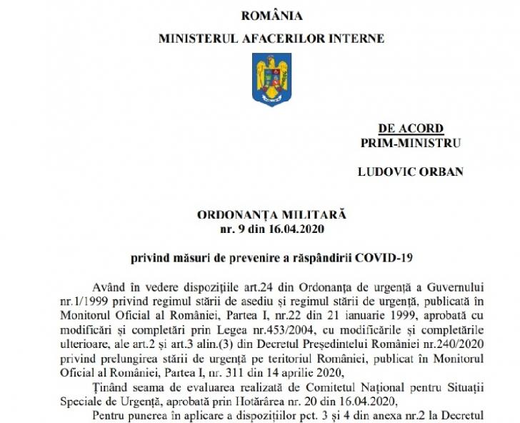 ORDONANŢA MILITARĂ nr. 9 din 16.04.2020 privind măsuri de prevenire a răspândirii COVID-19