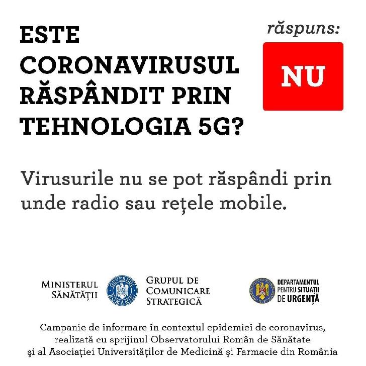 Covid 19 (coronavirus) nu se raspandeste prin tehnologia 5 G