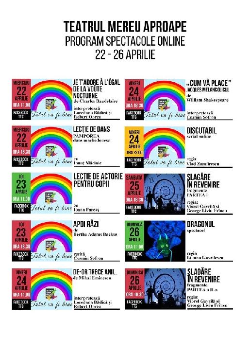 """Teatrul """" Toma Caragiu """" Ploiesti.Progamul (on-line) al spectacolelor in perioada 22-26  aprilie 2020"""