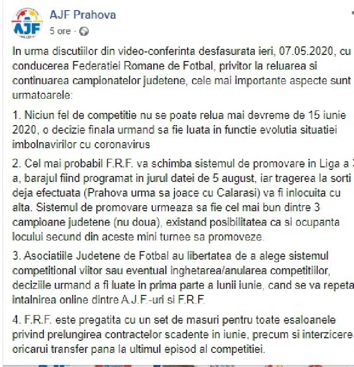 AJF PRAHOVA .Niciun fel de competitie nu se poate relua mai devreme de 15 iunie 2020