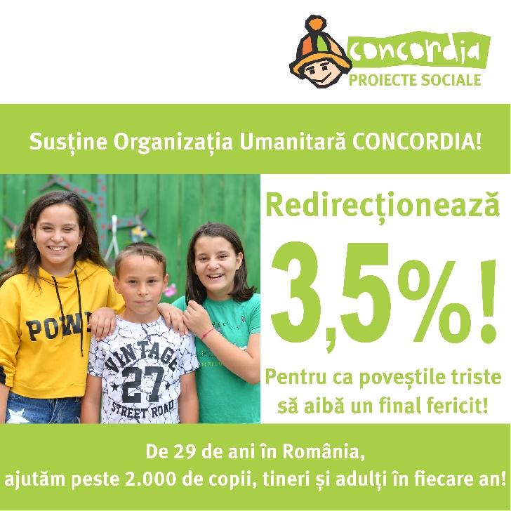 Au mai ramas 2 saptamani.Redirectioneaza 3,5% din impozitul pe venit pentru copiii ocrotiti de ORGANIZATIA UMANITARA CONCORDIA ROMANIA