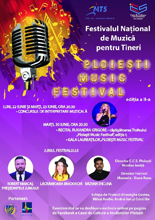 """Casa de Cultură a Studenţilor Ploieşti  organizează cea de-a doua ediţie a Festivalul Naţional de Muzică pentru Tineri """"PLOIEŞTI MUSIC FESTIVAL"""""""