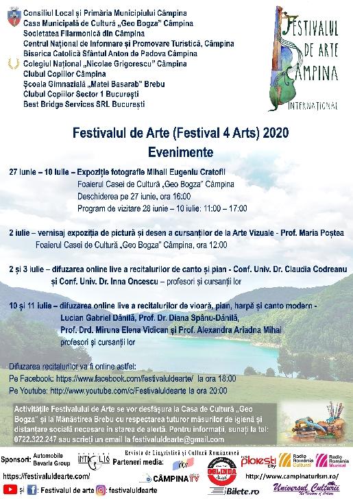 Festivalul de Arte (Festival 4 Arts) 2020, Câmpina şi Brebu, ediţia a III-a