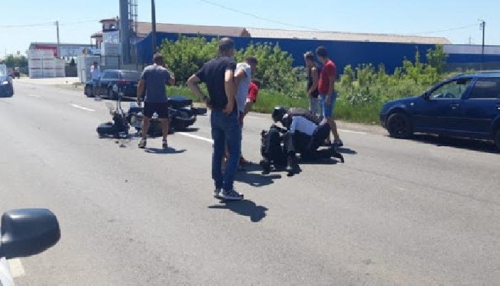 Accident rutier la ieşirea din Filipeştii de Târg, între o autoutilitară şi un motociclist