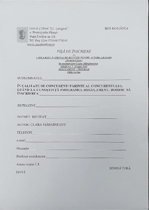 """Casa de Cultură """"Ion Luca Caragiale"""" a Municipiului Ploieşti  organizează prima ediţie a Concursului Naţional de Recitări pentru Actori Amatori """"Poemele Clarei"""""""