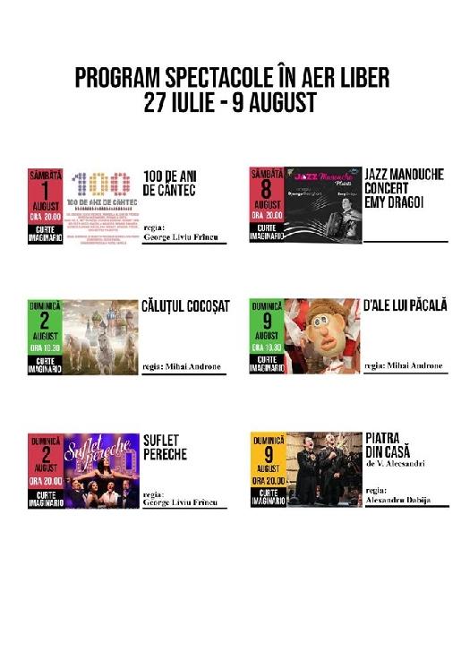 """Teatrul """" Toma Caragiu """" Ploiesti. Programul spectacolelor in aer liber.27 iulie-9 august 2020"""