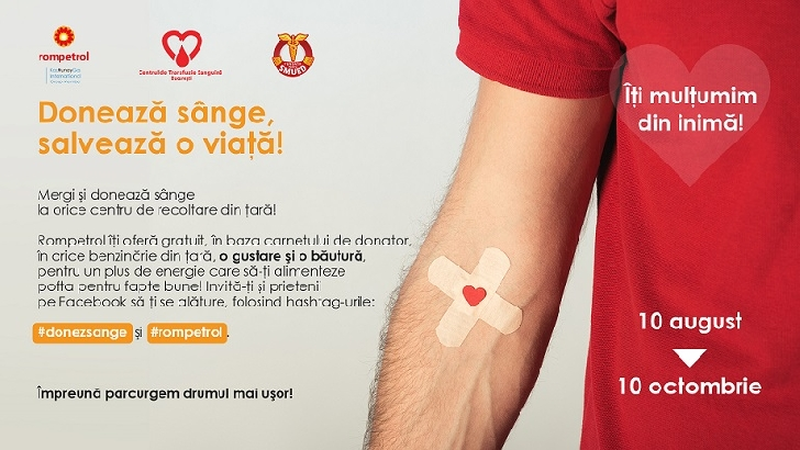 """""""Donează sânge, salvează o viaţă!"""" şi Rompetrol te premiază"""