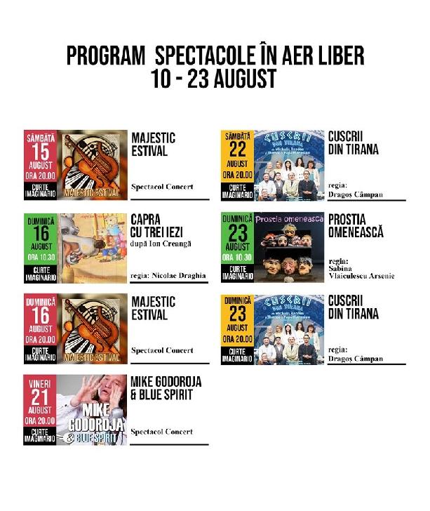 """Teatrul """"Toma Caragiu """" Ploiesti.Programul spectacolelor in aer liber,10-23 august 2020"""