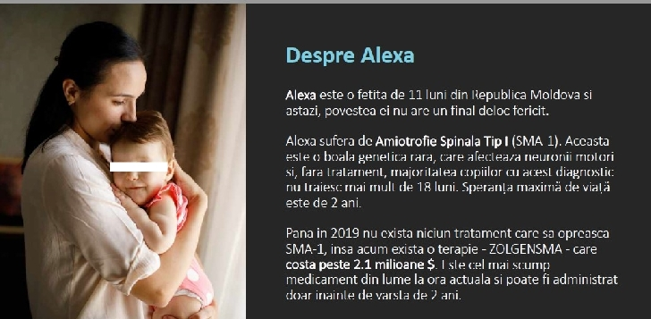O fetiţă în vârstă de 1 an ,din Republica Moldova are nevoie de ajutorul nostru