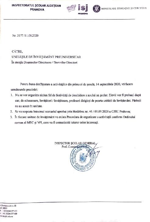 In Prahova sunt  interzice festivităţile la început de an şcolar