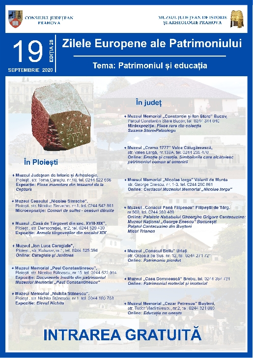 """Zilelor Europene ale Patrimoniului, cu tema """"Patrimoniul şi educaţia"""",sarbatorite la muzeele din Prahova"""