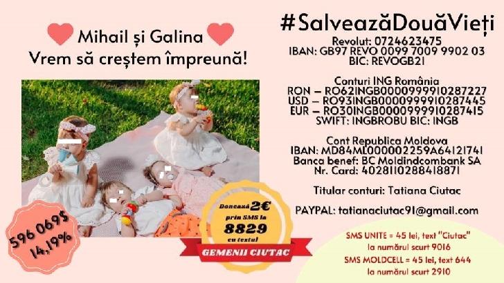 2 bebeluşi din Republica Moldova ( satul Măgdăceşti, raionul Criuleni) au nevoie de ajutorul românilor. Mihail şi Galina au un diagnostic crunt... amiotrofie spinală de tip 1