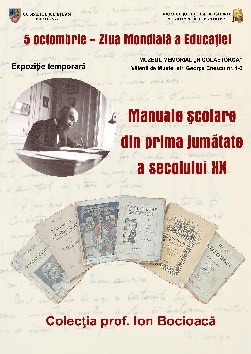 """Expoziţie temporară """"Manuale şcolare din prima jumatate a secolului XX"""" la Muzeul Memorial """"Nicolae Iorga"""" Valenii de Munte"""